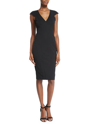 Veronica Cap-Sleeve Sheath Dress