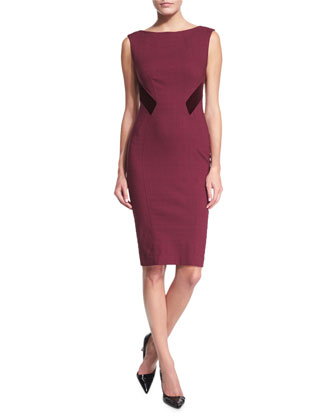 Gwen Woven Sheath Dress with Velvet