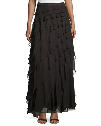 Layered-Ruffle Long Skirt, Dark Graphite