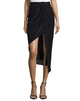 Asymmetric Skirt W/Tuxedo Stripe, Black