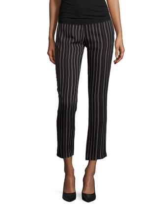 Slim-Leg Striped Tuxedo Pants, Black/Buff
