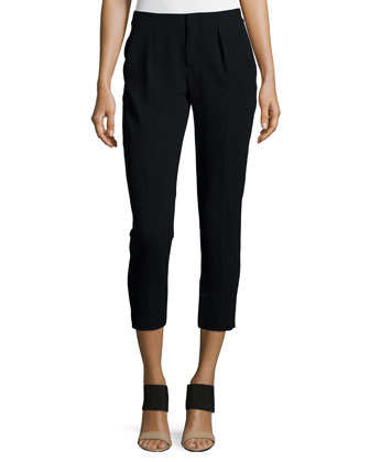 Pleated-Front Skinny-Leg Pants, Black