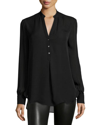 Long-Sleeve Henley Blouse, Black