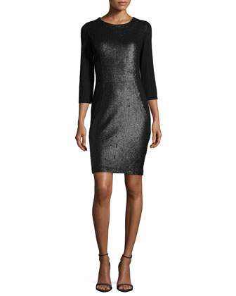 3/4-Sleeve Embellished Dress, Black