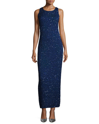 Sleeveless Embellished Gown, Midnight