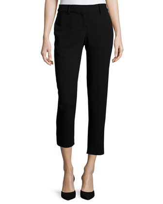 Skinny Cropped Pants W/Tuxedo Stripe, Black/Dark Midnight