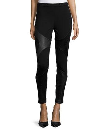 Skinny-Leg Combo Pants, Black