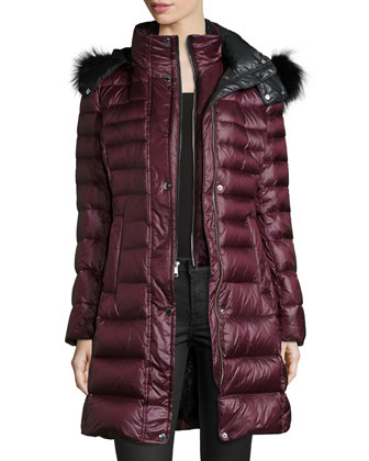 Channel-Quilted Coat W/ Fur-Trim Hood