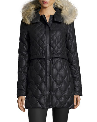 Diamond-Quilted Parka W/ Fur Hood