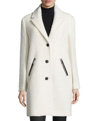 Zip-Pocket Wool/Alpaca Coat