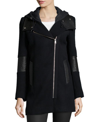 Asymmetric-Zip Hoodie Coat with Leather Detail