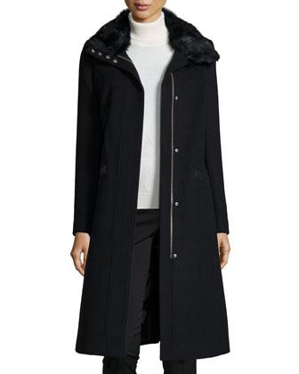 Wool-Blend Coat W/ Rabbit Fur Collar