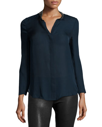 Embellished-Neck Cowl-Back Blouse, Midnight/Black