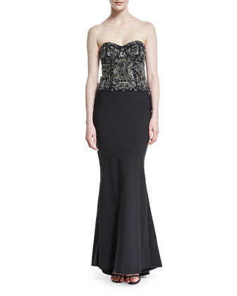 Strapless Embellished Gown, Black/Gunmetal