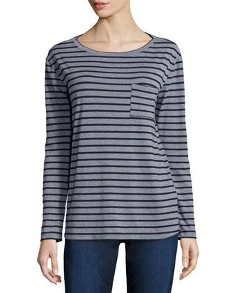 Long-Sleeve Striped Tee W/ Pocket
