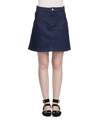 Embroidered Denim Skirt, Indigo