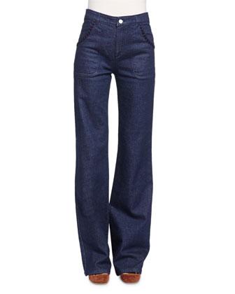 Embroidered Wide-Leg Denim Jeans, Indigo