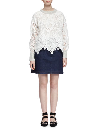 Lace and Knit Pullover Sweater