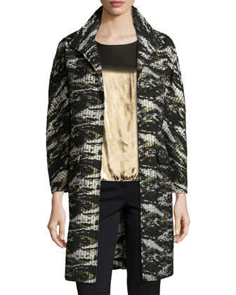 Jacquard Metallic Long Topper Coat