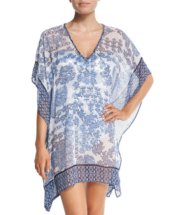 Stamped Medallion Coverup Tunic, Blue Zaffiro/Mare