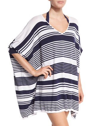 Oversized Stripe Coverup Sweater, Mare/White