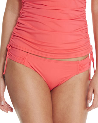 Solid Ruch-Side Bandini Swim Top, Bright Coral