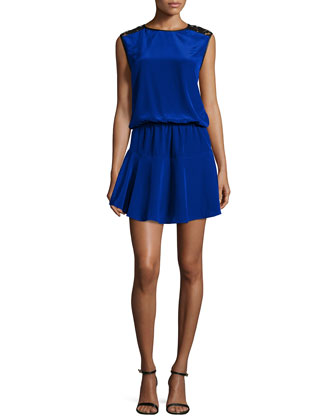 Riley Lace-Shoulder Mini Dress, Blue