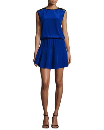Riley Lace-Shoulder Mini Dress, Blue