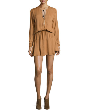 Pilar Long-Sleeve Shirtdress, Caramel