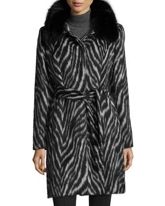 Fur-Collar Zebra-Print Belted Coat
