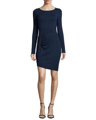 Long-Sleeve Draped Jersey Dress