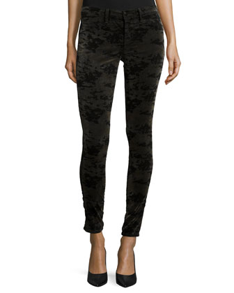 815 Velvet Camo Skinny Pants, Olive