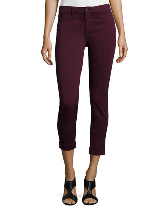 Anja Skinny Cuffed Ankle Jeans, Deep Mulberry