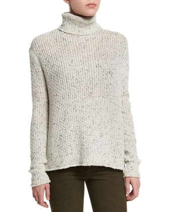 Fernwood Turtleneck Speckled Sweater & Suede Super-Skinny Pants