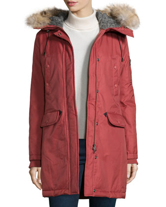 Fur-Hood Mid-Length Parka Jacket