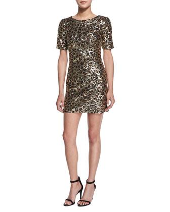 Leo Lux Embellished Mini Dress, Gold