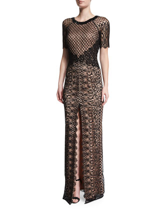 Savannah French Lace Gown, Black/Nude