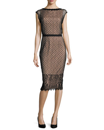 Savannah Cap-Sleeve Lace Dress, Black/Nude