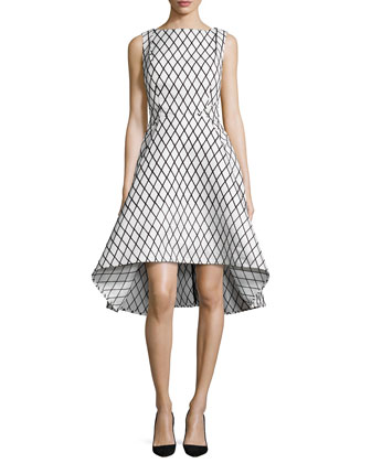 Aria Sleeveless Diamond-Print High-Low Dress, Black/White
