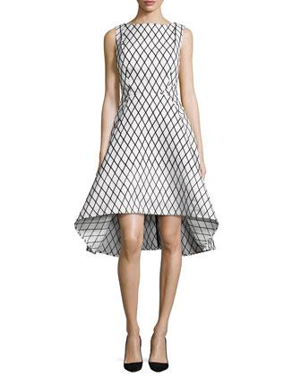 Aria Sleeveless Diamond-Print High-Low Dress, Black/White