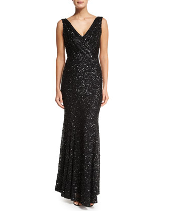 Candence Sequined Gown, Black