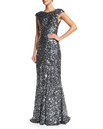 Alyssa Cap-Sleeve Sequined Gown, Silver