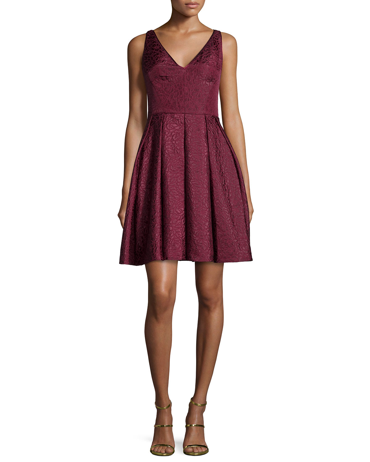 Coco Sleeveless V-Neck Fit & Flare Dress, Size: 0, CRIMSON - ERIN erin fetherston