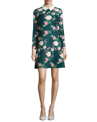 Mila Collared Floral-Print Cocktail Dress