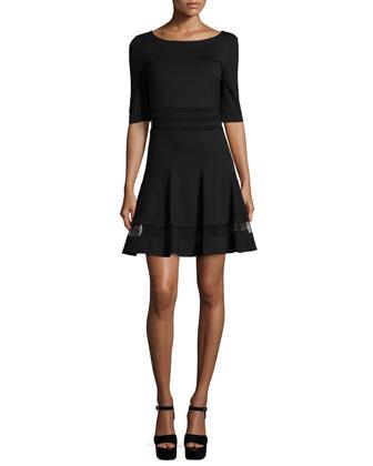 Tess Half-Sleeve Fit & Flare Mesh-Stripe Dress