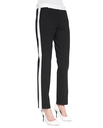 Ben Contrast Smoking Pants, Black/White