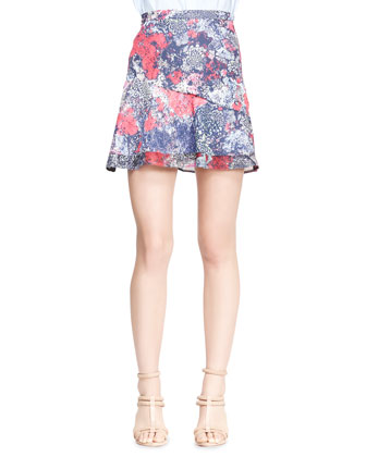 Printed Asymmetric Flare Skirt