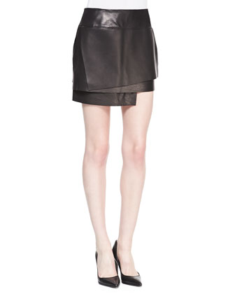 Petal Tiered Leather Skirt