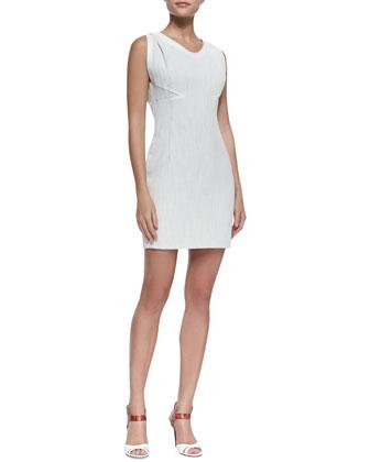 Sleeveless Coated Linen Shift Dress
