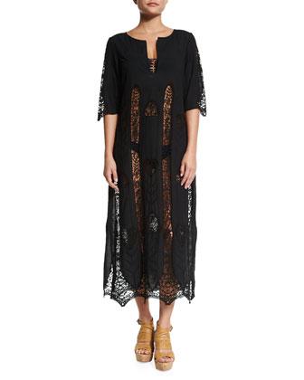 Corrine Crocheted-Cutout Kaftan Coverup